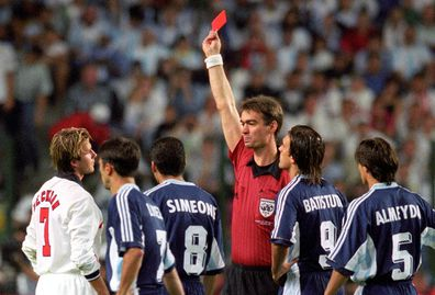 David Beckham handed a red card during England vs Argentina at the 1998 World Cup.