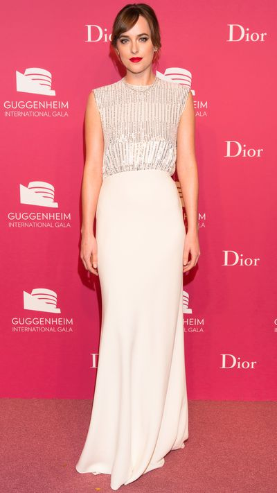 At the 2015 Guggenheim International Gala Dinner, made possible by Dior, the glamour was turned all the way up: Dakota Johnson, Emily Blunt, Kiernan Shipka and Leelee Sobieski were joined by A$AP Rocky and Raf Simons himself, all swathed in Dior. Click through to see their pink carpet looks.