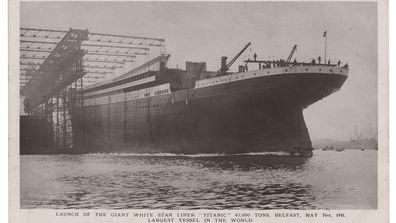 The glossy front of the Titanic launch day postcard.