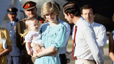 Prince Charles, Prince of Wales, Diana, Princess of Wales and baby son Prince William arrive at Alice Springs airport on March 20, 1983 in Australia.