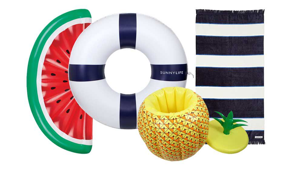 Inflatable watermelon, $79.95, Fenton & Fenton, Sunnylife inflatable life ring, $59.95, Myer, LTD inflatable pineapple cooler, $10, Target, Country Road Helsinki beach towel, $64.95