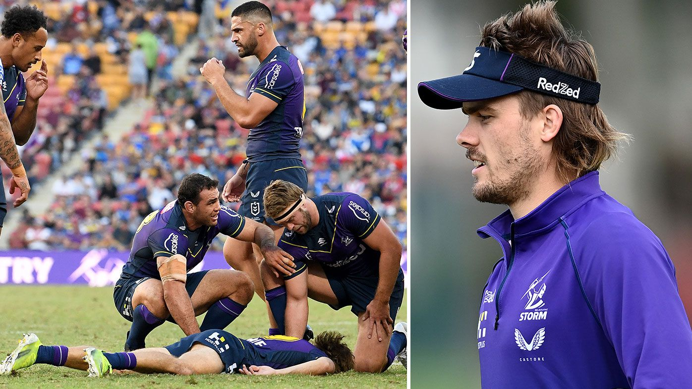 Ryan Papenhuyzen of the Storm is seen on the ground after being knocked out during the round 10 NRL match between the Melbourne Storm and the St George Illawarra Dragons