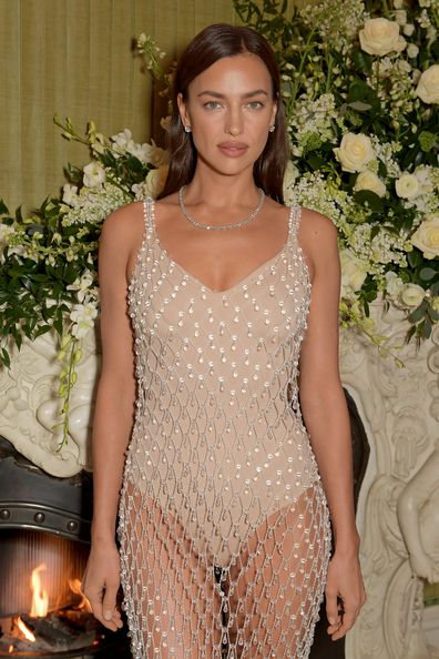 Irina Shayk wearing Tiffany & Co. attends the British Vogue and Tiffany & Co. Fashion and Film Party at Annabel's on February 2, 2020 in London, England.