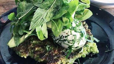 "Recipe: <a href=""http://kitchen.nine.com.au/2018/01/15/10/50/porch-green-pancakes"" target=""_top"">Green pea pancake</a>"