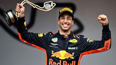 Daniel Ricciardo celebrates his victory at the 2018 Monaco Grand Prix.