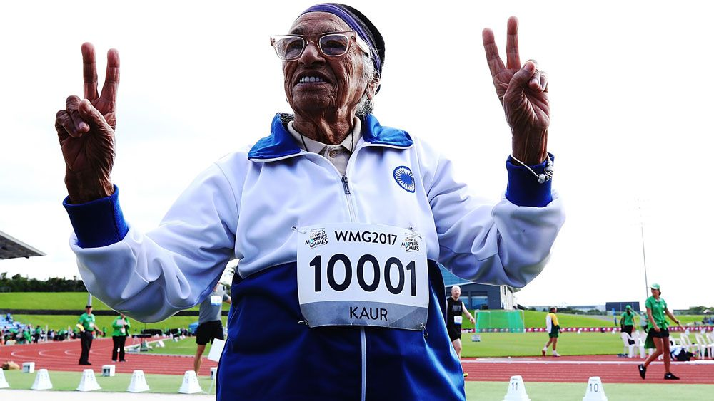 101-year-old runner Man Kaur was all smiles after her race. (AAP)
