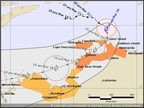 Tropical Cyclone Marcus has formed into a Category 1 storm that is set to make landfall near Darwin and move towards the southwest over the coming days. Picture: BoM