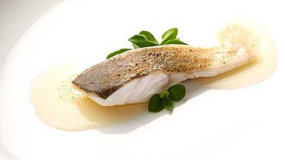 """Recipe:<a href=""""http://kitchen.nine.com.au/2016/09/02/11/02/mark-bests-steamed-murray-cod-with-pink-onions-capers-and-lemon-balm"""" target=""""_top"""">Mark Best's steamed Murray cod with pink onions, capers and lemon balm</a>"""