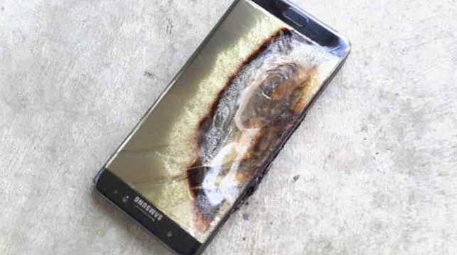 The charred remains of a Samsung Galaxy Note7