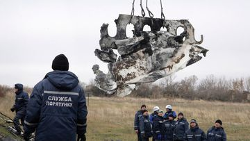 Workers removed the wreckage of MH17 from rebel-held territory in eastern Ukraine. (AAP)