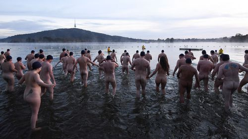 Swimmers braved freezing conditions in Canberra. Picture: AAP