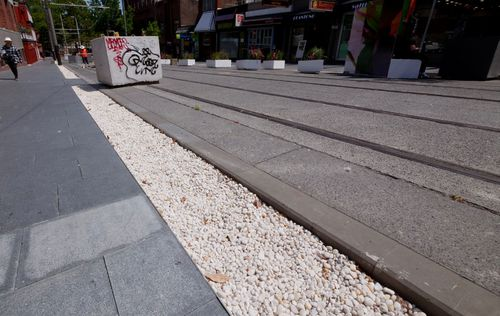 The strip of pebbles laid on Devonshire Street in central Sydney.