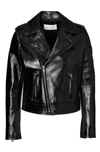 """<a href=""""https://www.scanlantheodore.com/collections/leather/products/glossy-leather-biker"""" target=""""_blank"""" draggable=""""false"""">Scanlan &amp; Theodore Glossy Leather Jacket, $1,200</a>"""