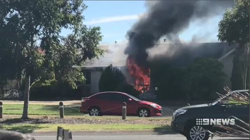 A Melbourne family of six are lucky to have escaped this house fire alive today after it gutted their home. Picture: 9NEWS.