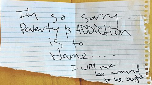 Thief's handwritten 'apology' doesn't wash with beleaguered cafe owner