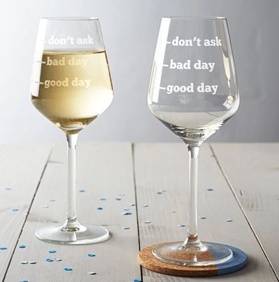 "<p>Pretty self explanatory really ... look, we love our kids too. But seriously ... a little break wouldn't go astray right?&nbsp;</p> <p><a href=""https://www.hardtofind.com.au/129632_good-day-bad-day-dont-ask-wine-glass"" target=""_blank"" draggable=""false"">Good Day, Bad Day, Don't Ask Wine Glass by Becky Broome, $69.</a></p> <p>&nbsp;</p>"