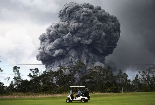 A golf buggy trundles along. (Getty)