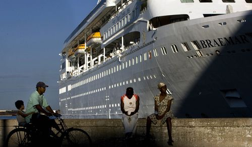 A file image of the Norwegian cruise ship Braemar docked in Havana's port in 2008. Picture: Ramon Espinosa