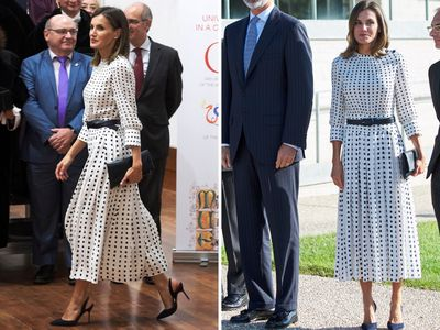 <p>In September 2018, all eyes were on the Spanish Queen as she stepped out in Villamayor, Spain, where she upped the sartorial stakes in a pleated&nbsp;high collar, midi length monochrome print dress from high-street designer Massimo Dutti.&nbsp;</p> <p> </p>