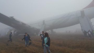All 238 people on board the Turkish Airways flight escaped serious injury. (Twitter, @neilpande)