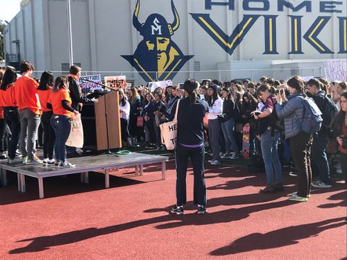 Students from Santa Monica High School have joined pupils across the United States in solidarity against gun violence. (Charles Croucher/9NEWS)