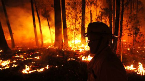 Crews backburning between the towns of Orbost and Lakes Entrance in east Gipplsland on January 2.