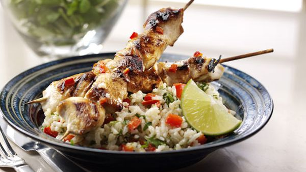 Lime and coconut chicken kebabs