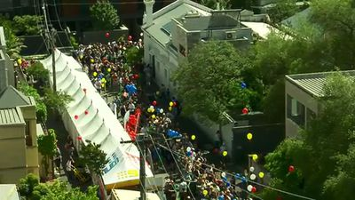 The sea of Blockaholics as viewed from the apartments. (9NEWS)