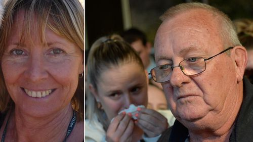 Gayle Woodford (left), and her bereaved husband Keith.