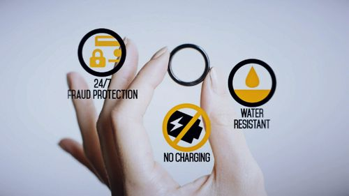 The ring is water-resistant and covered by Mastercard's 24/7 fraud protection system (Supplied).