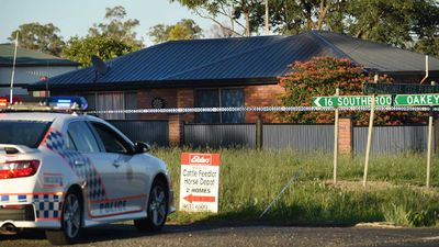 Police have cordoned off the Biddeston property as a crime scene. (AAP)