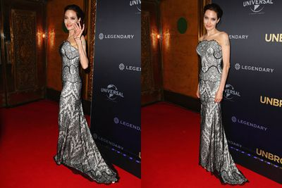 The actress-turned-director dazzles from her updo to her toes in a strapless gown.