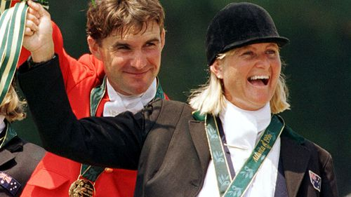 Gillian Rolton (left) celebrating her gold medal win in the three day team event at the Atlanta Olympics.