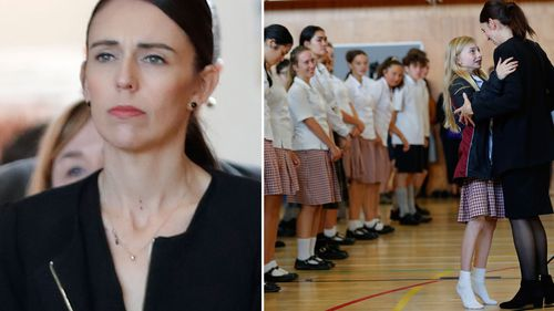 New Zealand Prime Minister Jacinda Ardern arrives during a high school visit in Christchurch.
