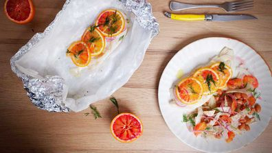 Blood orange steamed fish in a bag is simple, healthy and so delicious