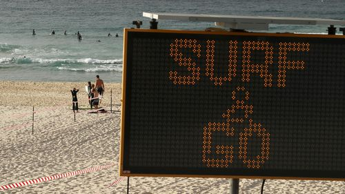 A sign at Bondi Beach (Mark Kolbe).