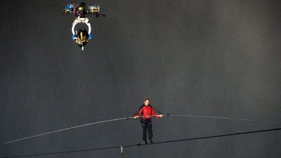 "<b _tmplitem=""106"">Aerialist Nick Wallenda is known as the ""King of the Wire"" for his high-wire stunts across the globe.</b> A television camera films Wallenda as he walks a 550-metre-long tightrope over the brink of the Niagara Falls in 2012. (AP Photo/Aaron Vincent Elkaim, Canadian Press)"