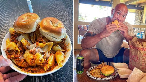Dwayne 'The Rock' Johnson eats burger, shares cheat meals