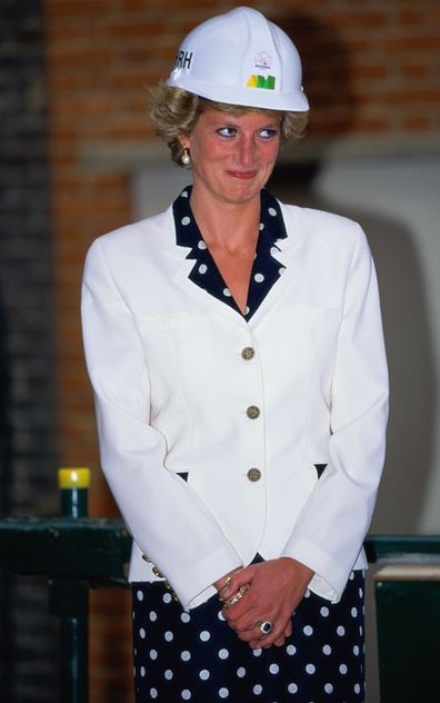 Princess Diana wearing a Paul Costelloe suit and a hard hat at a topping-out ceremony at the Royal Marsden Hospital, London, June 1990