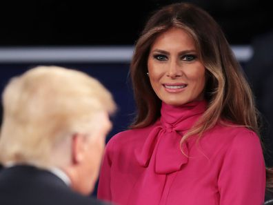 Melania Trump wears a pussy bow blouse at the first presidential debate in 2016.