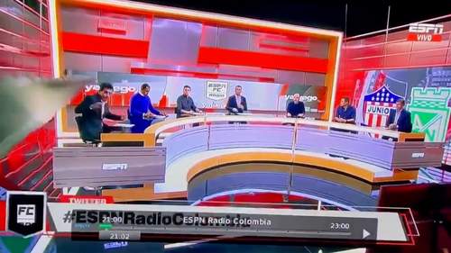 The journalist had no warning as the set collapsed on top of him.