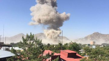 A plume of smoke rises over Kabul after the explosion. (Aditya Raj Kaul)