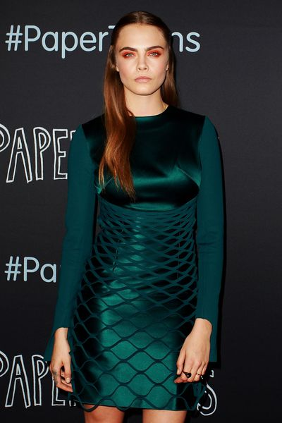 Cara Delevingne in Dion Lee at the premiere of Paper Planes, July 2015. Image: Getty
