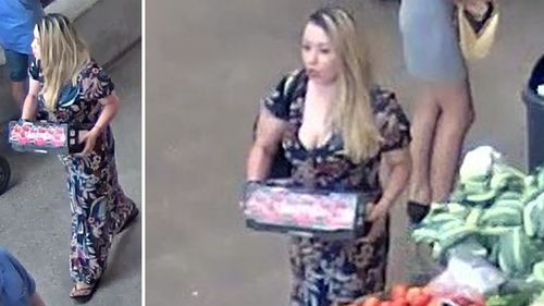 CCTV shows a woman believed to be Ms Earl at a nearby fruit shop. (Victoria Police)