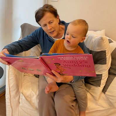 Sylvia Jeffreys' son Oscar with her mother Janine Jeffreys.