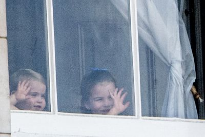 Princess Charlotte and Prince Louis wave
