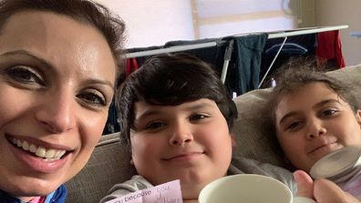 Jo with her son Giovanni, 11, and daughter Caterina, nine.