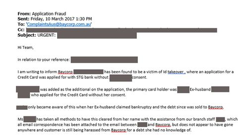 An email from St George to Baycorp in which the bank accuses the debt collector of continuing to harass Sarah even as they are attempting to buy back the debt.