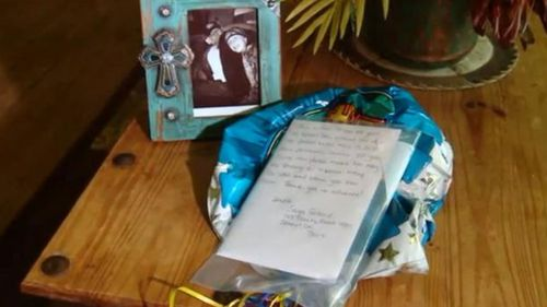 The note and balloons were found near their house.