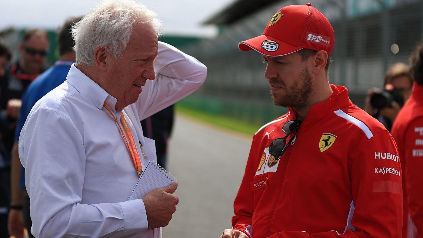 Charlie Whiting (left) with Sebastian Vettel in Melbourne on Wednesday.